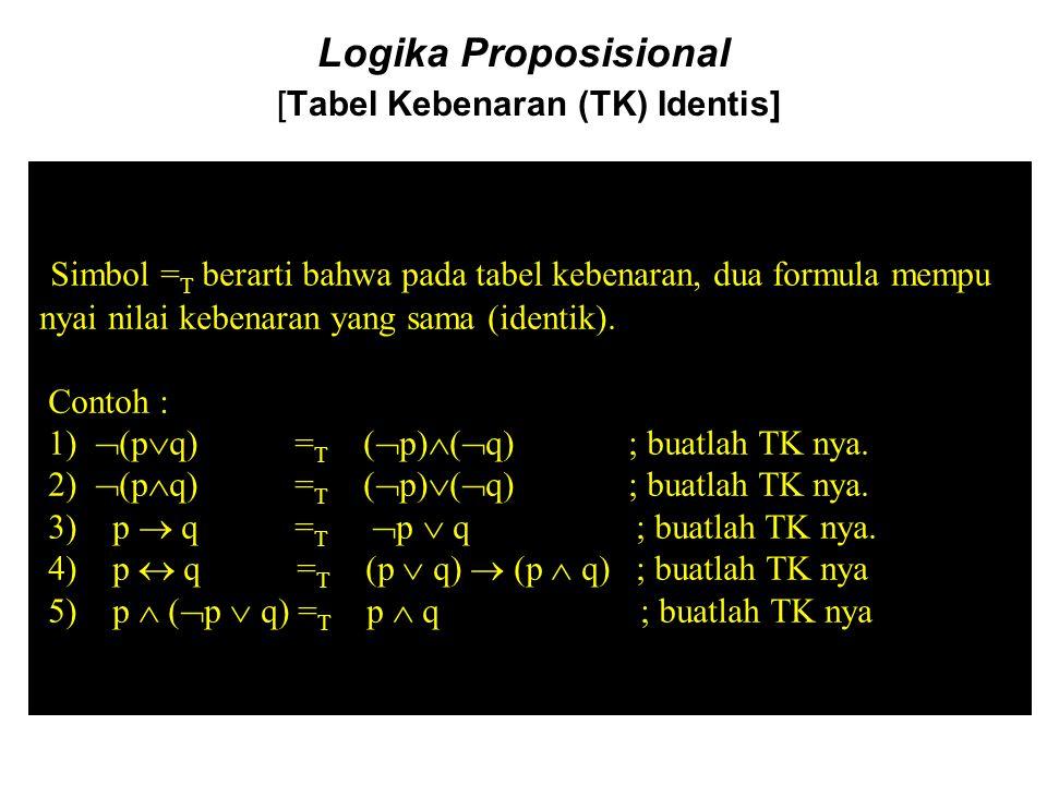 Logika Proposisional [Tabel Kebenaran (TK) Identis]
